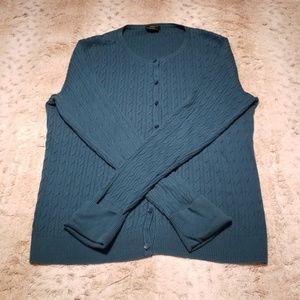 Talbot's Dark Blue Green Button Up Sweater